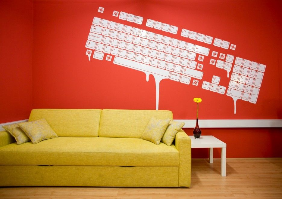 Colorful Modern Style Red Office Interior Design Keyboard Decoration Ideas For Wall Decoraing Idea In White