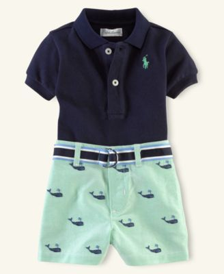 Ralph Lauren Baby Set Baby Boys Polo And Schiffli Shorts Baby