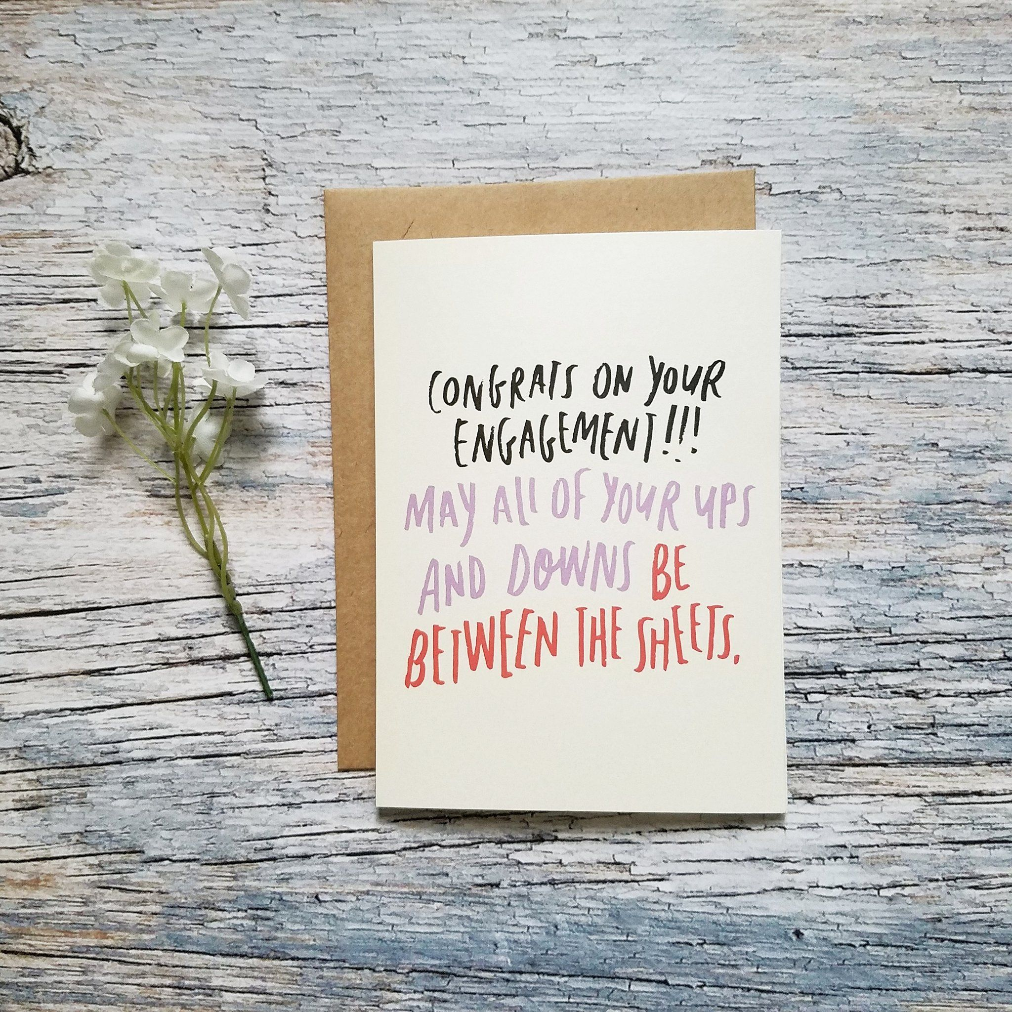 Funny Engagement greeting card - Ups and Downs Inuendo – Well Said