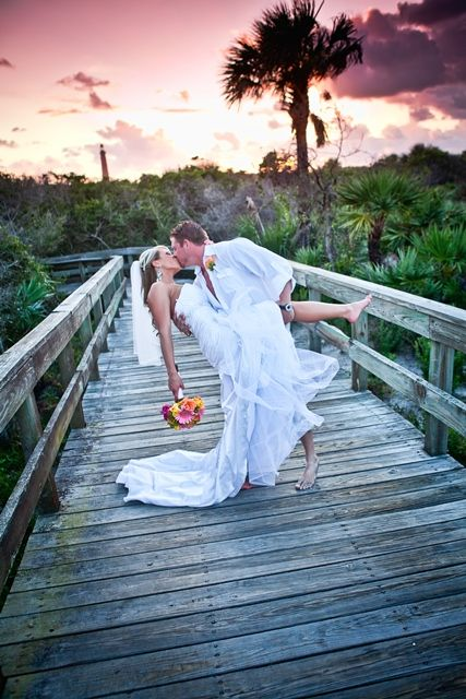 Daytona Beach Wedding At Lighthouse Point Park In Ponce Inlet Sunset With The Background Florida By Sun Kissed
