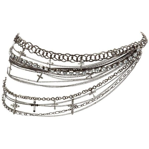 Silver Diamante Cross Chain Belt ($69) ❤ liked on Polyvore featuring accessories, belts, cross belt, embellished belt, chain belt, silver belt and adjustable belt