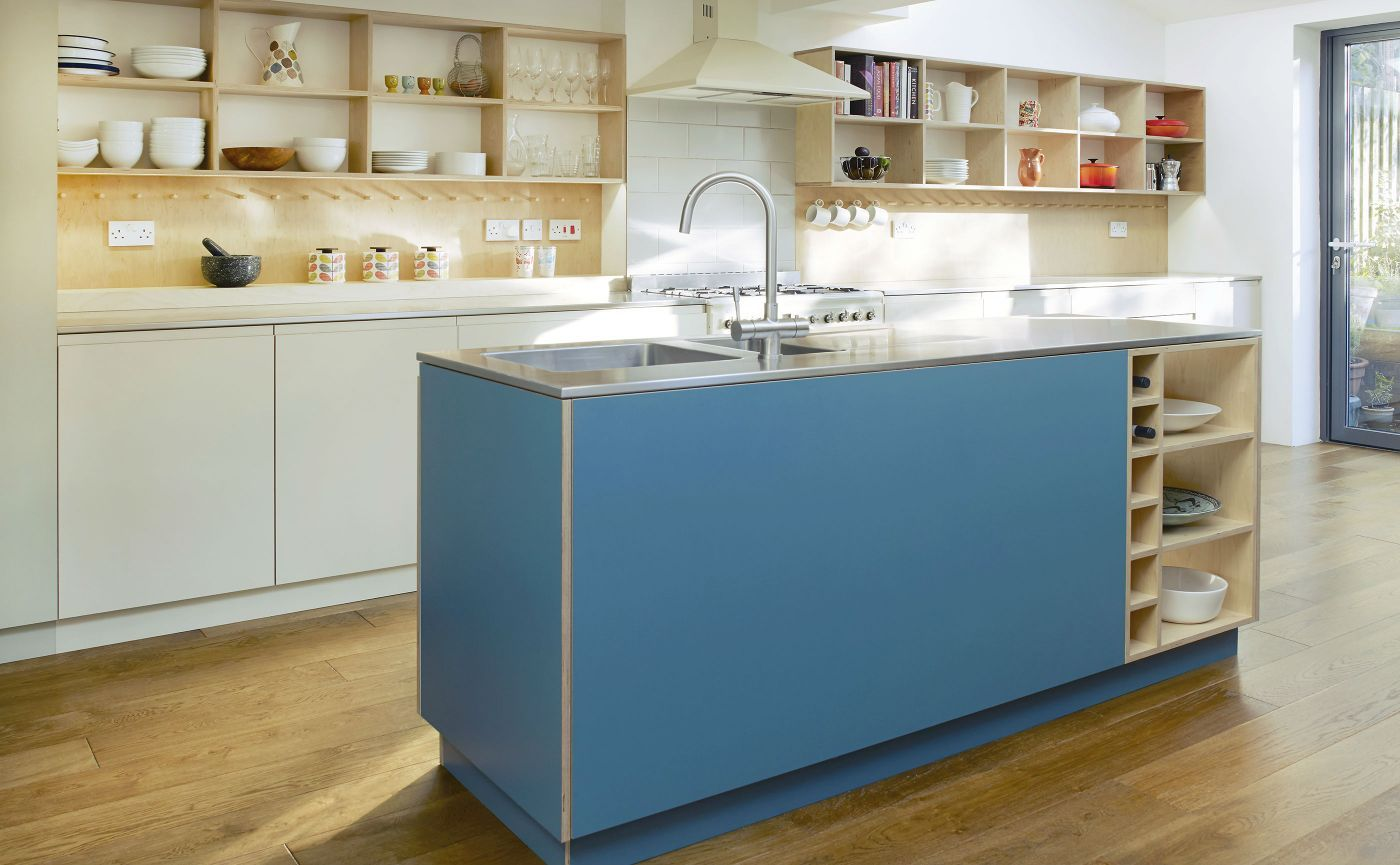 Kitchen with warm blue-green cabinets and raw birch plywood | All ...