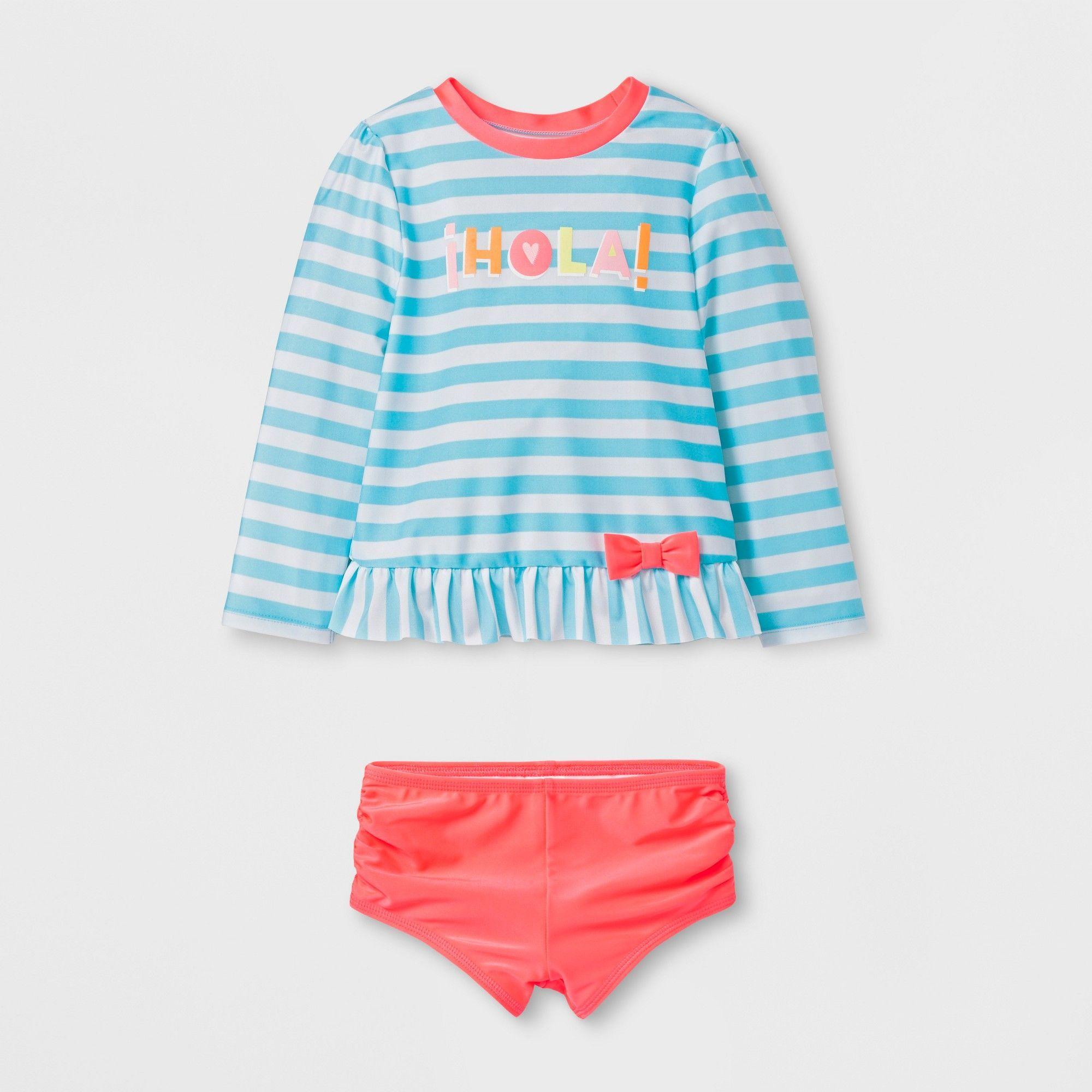 626780525c Toddler Girls' Hola! Rash Guard Set - Cat & Jack Aqua 6X, Blue ...