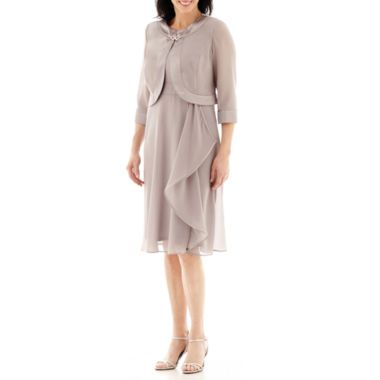 Dana Kay Georgette Side Cascade Jacket and Dress   found at @JCPenney