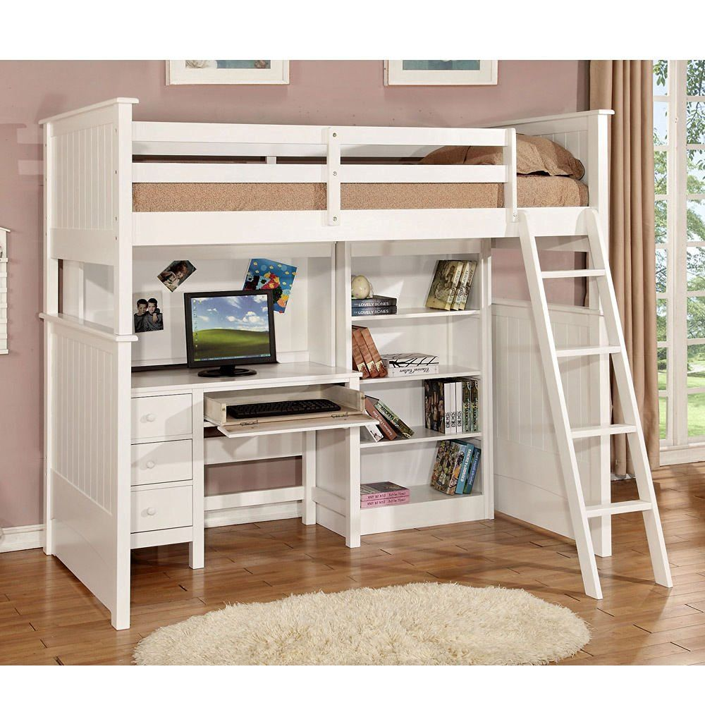 desk twin dp bed espresso with and storage baby canwood beds tower loft skyway com amazon