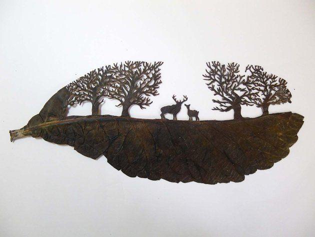 Arte en hojas de árboles varios Pinterest