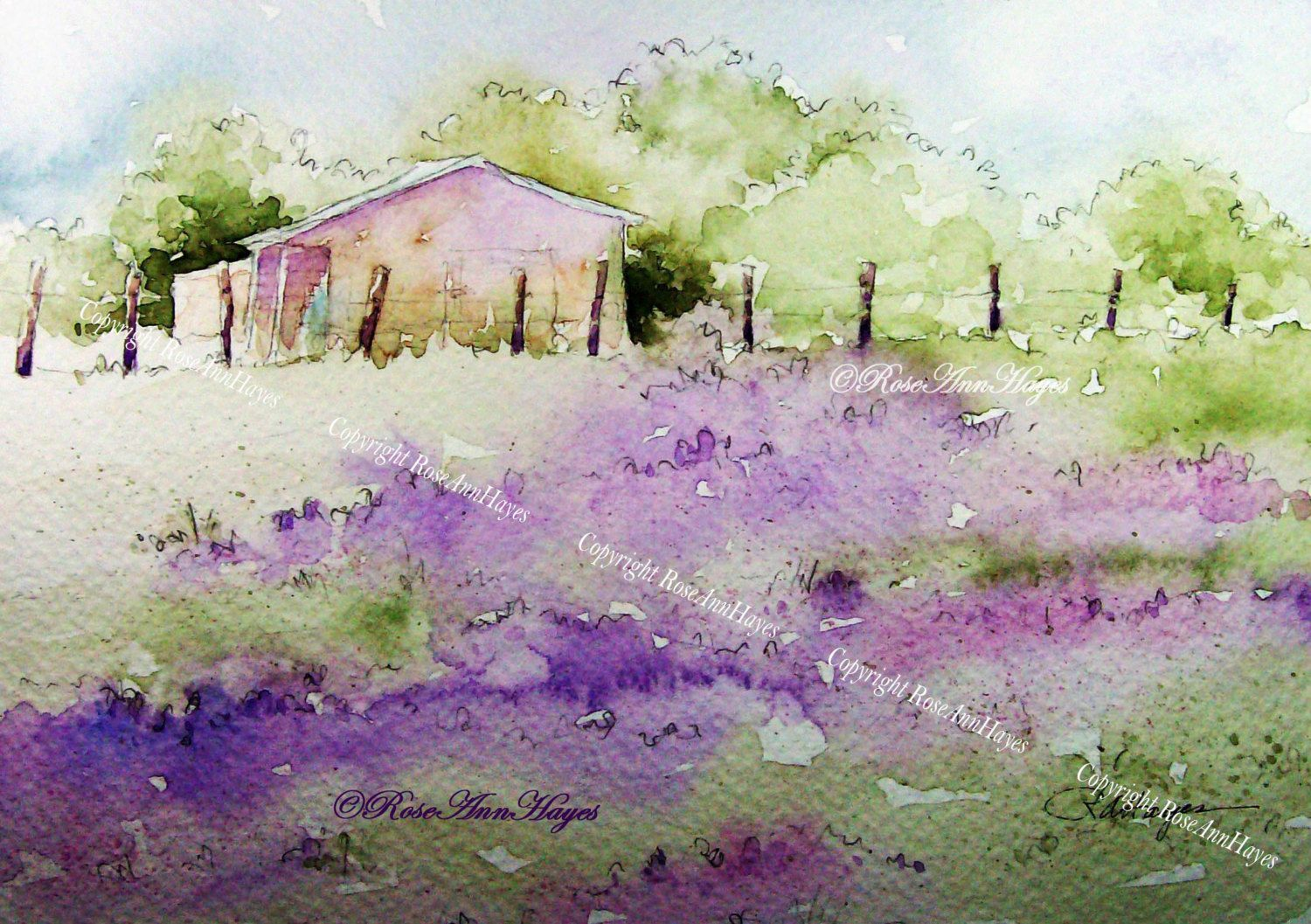 Lavender Field Watercolor Painting Print Landscape French Provence