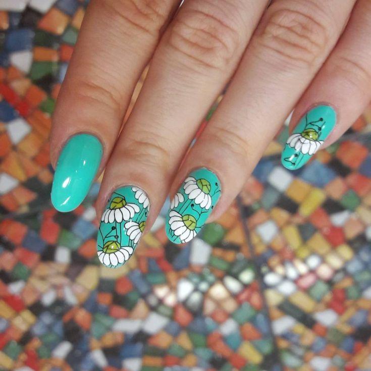 Маникюр с ромашками - фото идей дизайна ногтей - Best Маникюр 36