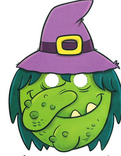 Máscara de una bruja de Halloween. Manualidades a Raudales.