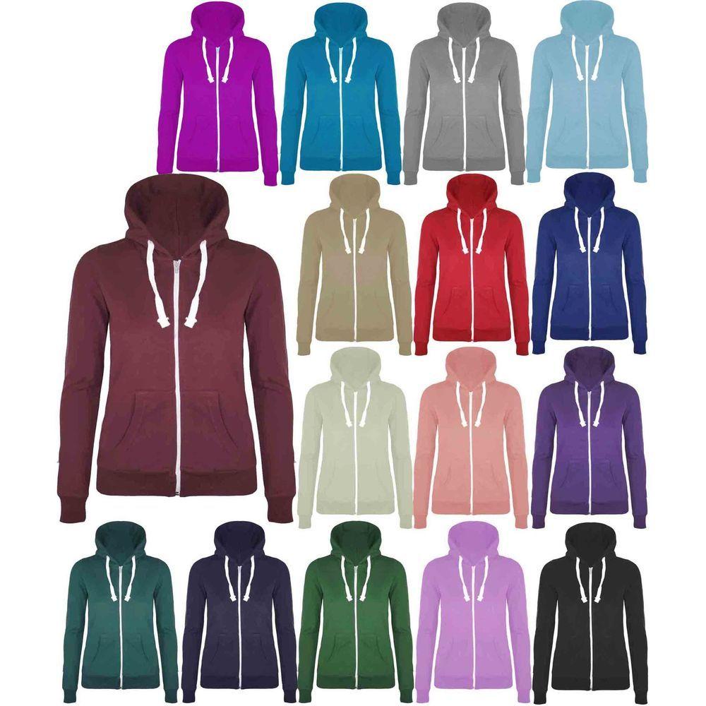 Ladies Plain Hoodie Zip Up Womens Hooded Jacket Sweatshirt Hoody ...