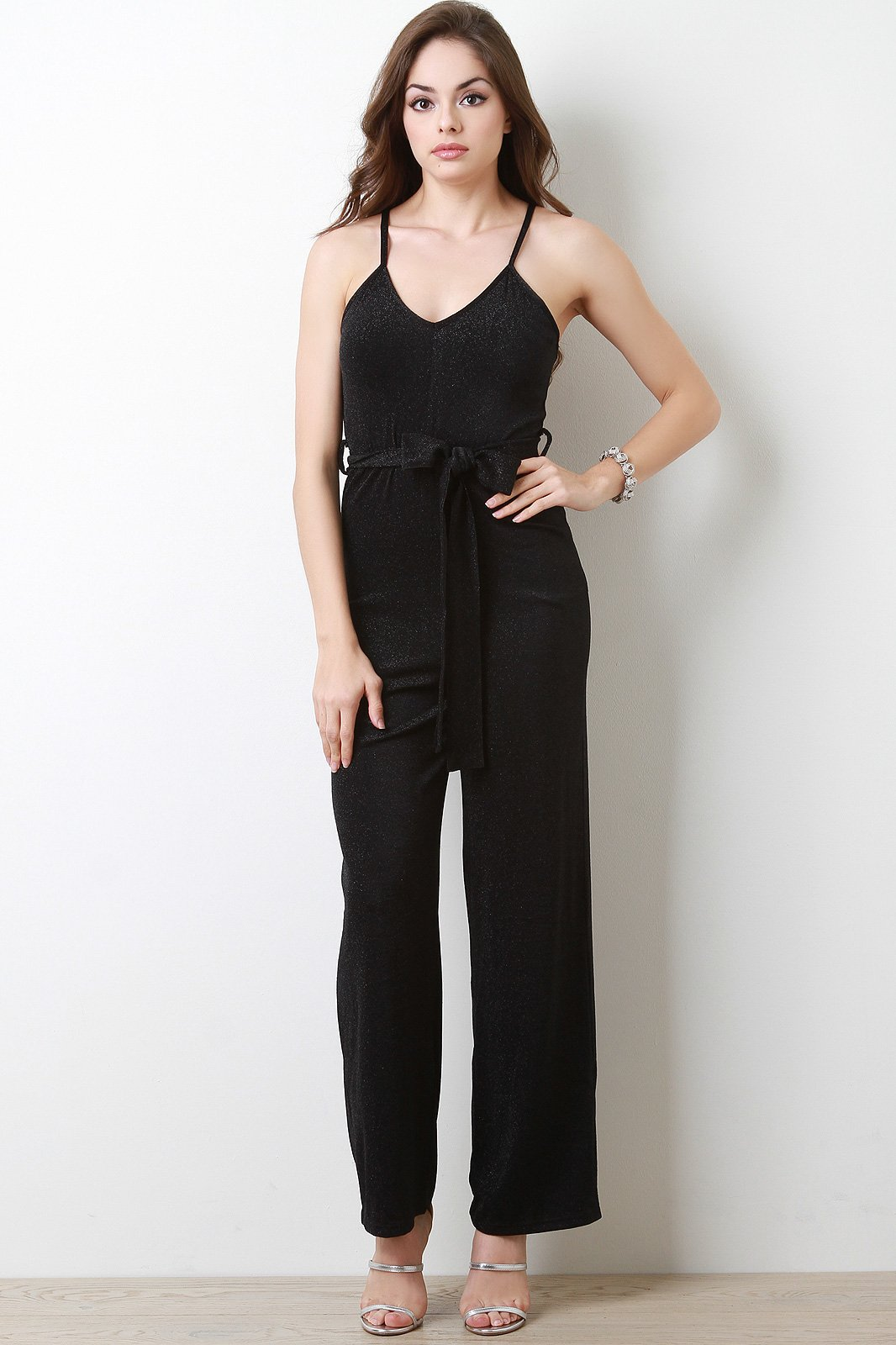 b43256c82c4 V-Neck Self-Tie Wide Leg Jumpsuit