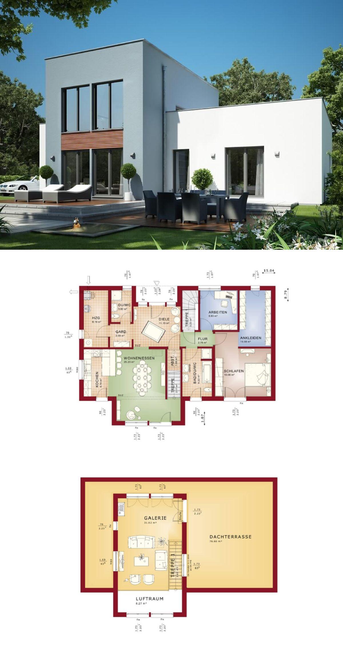 Modernes holzhaus flachdach  Modernes EINFAMILIENHAUS Bauhausstil | Haus Evolution 111 V5 Bien ...