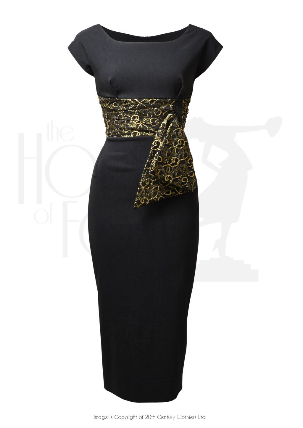 60s Manhattan Cocktail Dress Black Gold Vintage Dresses