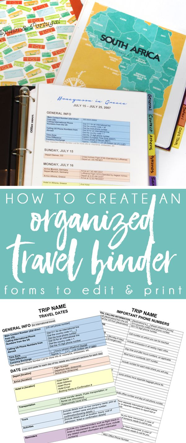 Create an Organized Travel Binder + Free Printable Planning Pages #holidaytrip