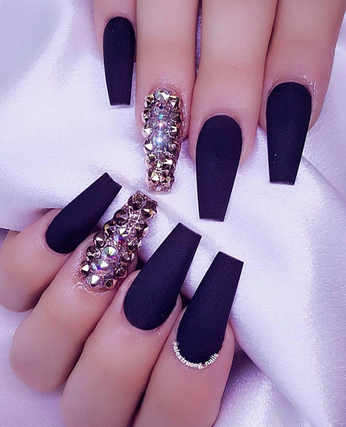 Pinterest Itskiraababe Acrylic Nails Coffin Glitter Rhinestone Nails Black Acrylic Nails