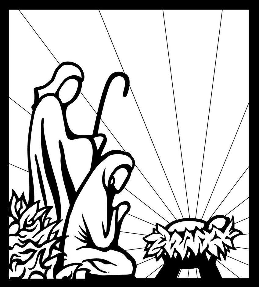 Black and White Manger Scene | Nativity by inspired-imaging | LET'S COLOR | Pinterest | Clip art ...