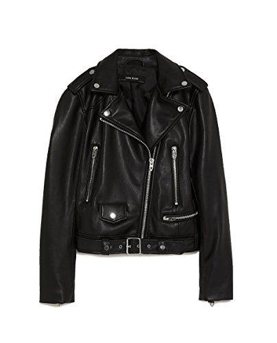 8eb8e2c2618 Zara Femme Veste de Motard en Cuir synthétique 3046 024 (Large ...