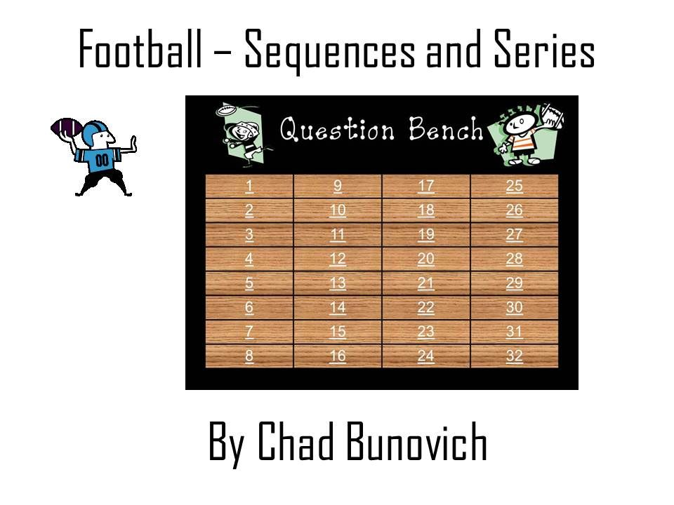 Arithmetic and Geometric Sequences and Series Football Review Game - geometric sequence example