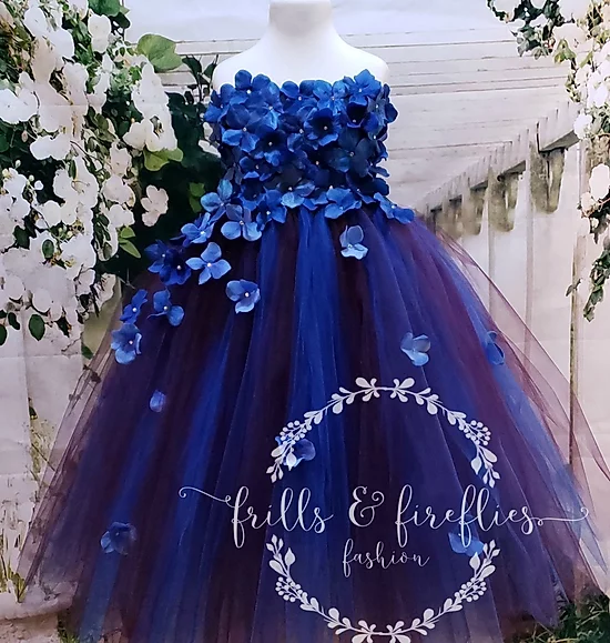 GIRLS ROYAL BLUE SPARKLING SEQUIN SATIN TULLE PRINCESS PAGEANT PROM PARTY DRESS