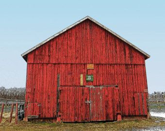 Old Tobacco Barn Photo - Rustic Fine Art Wall Decor - Red Barn - Barn Wall Art - Old Barn Decor - Red Blue White - Snowy Country Landscape