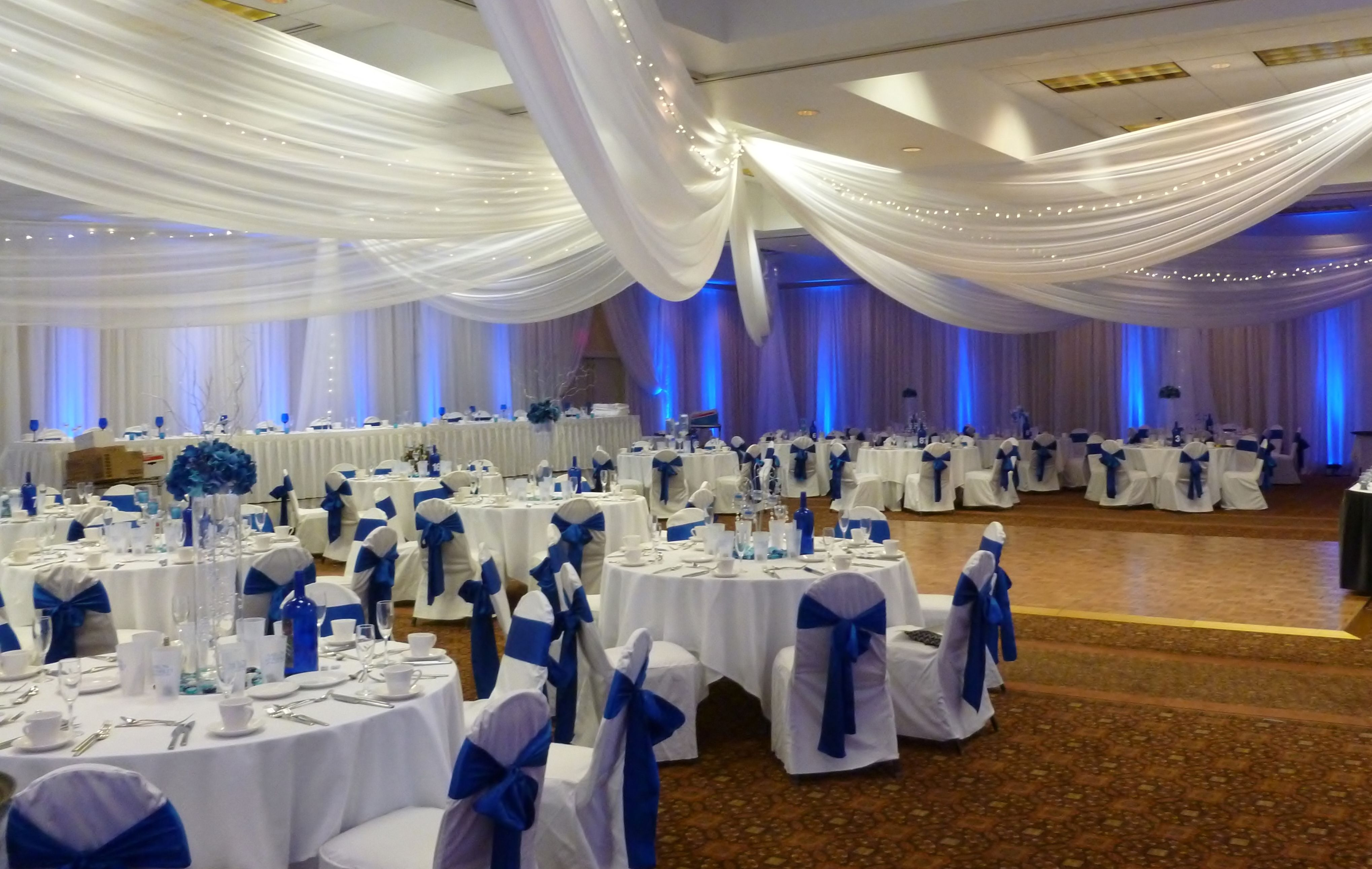 White Ceiling Drape, White Chair Covers with Royal Blue