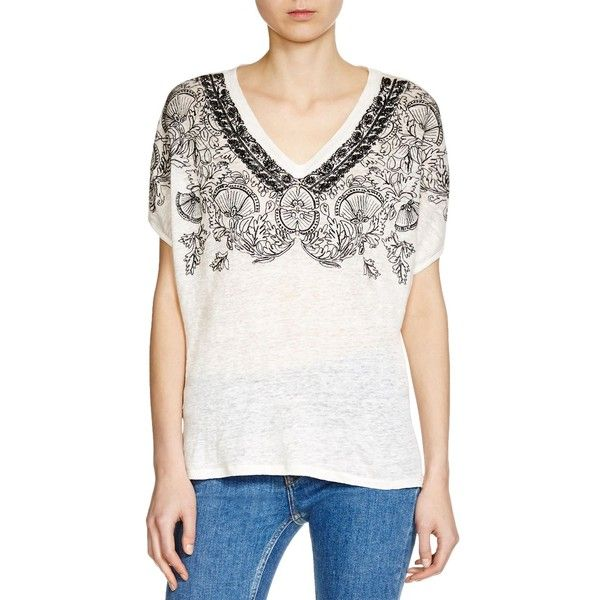 Maje Trust Embroidered Tee (105 CAD) ❤ liked on Polyvore featuring tops, t