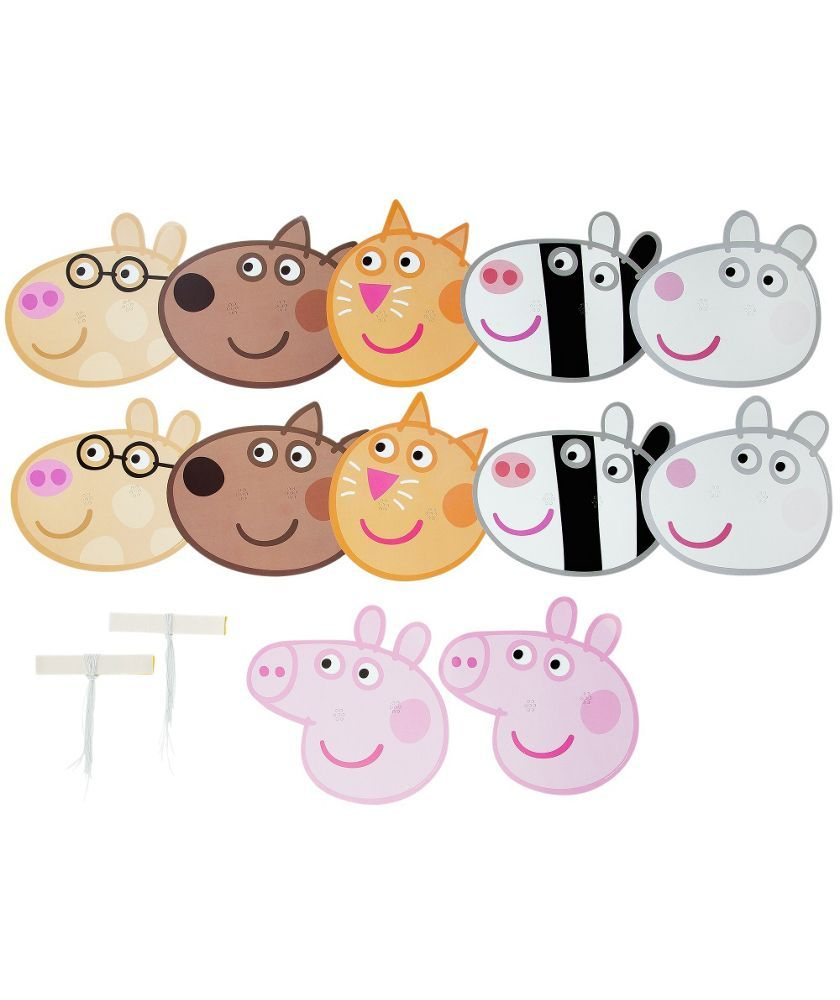 FANCY DRESS PARTY BAG FILLERS FACE MASK X 12 PEPPA PIG DRESS UP CARD MASKS