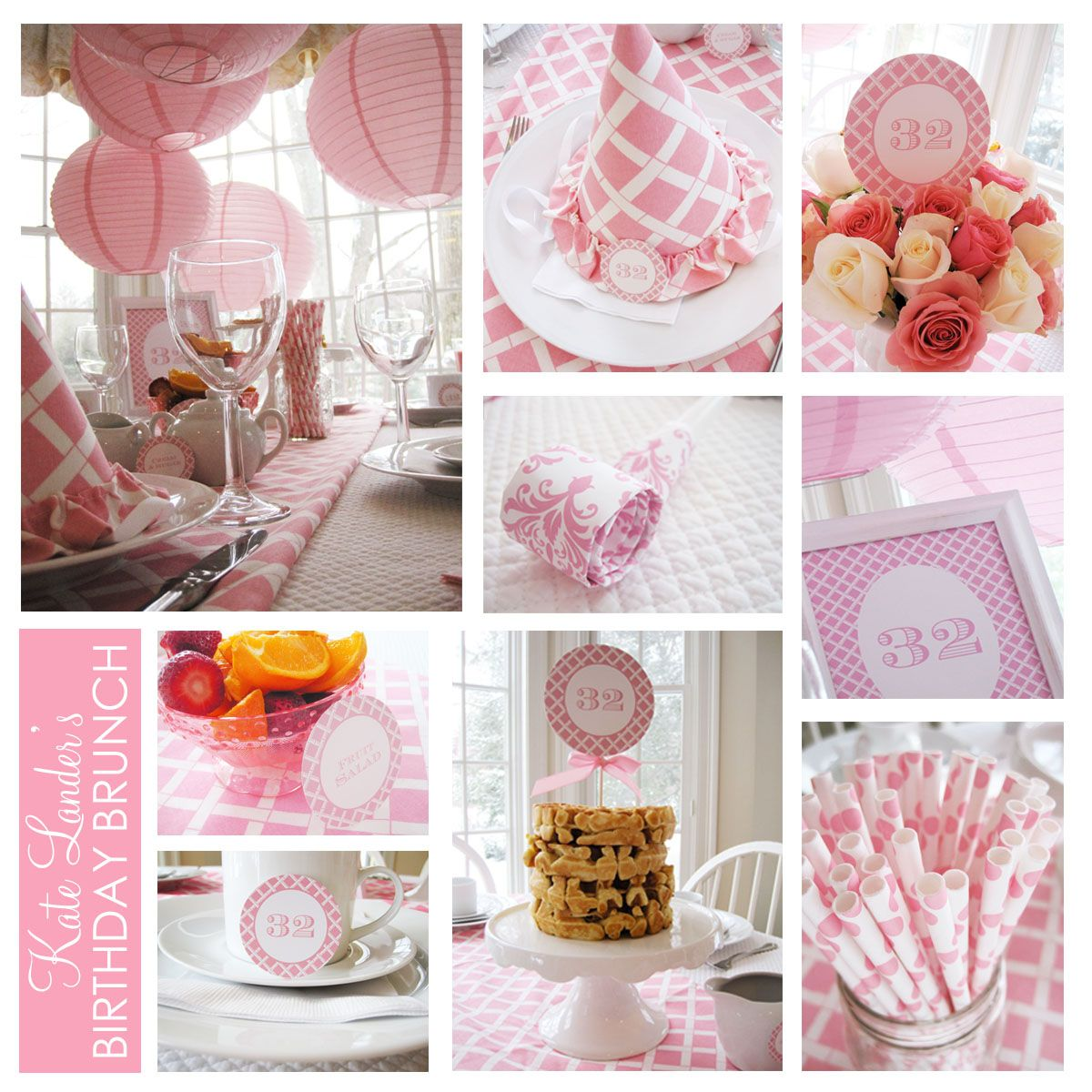 Love the white matelaise tablecloth with a pink & white greek key runner.  Gotta have the straws!