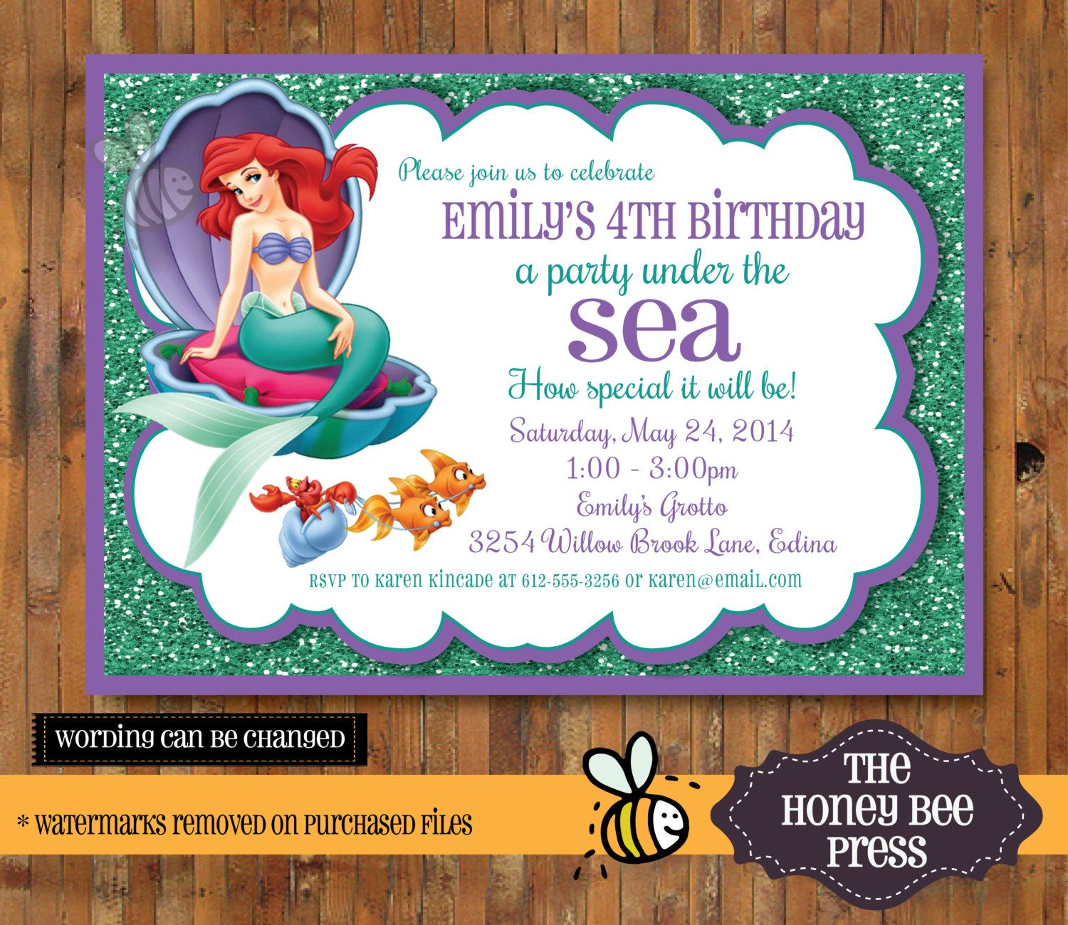Under the Sea Invitation - Little Mermaid Under the Sea birthday ...