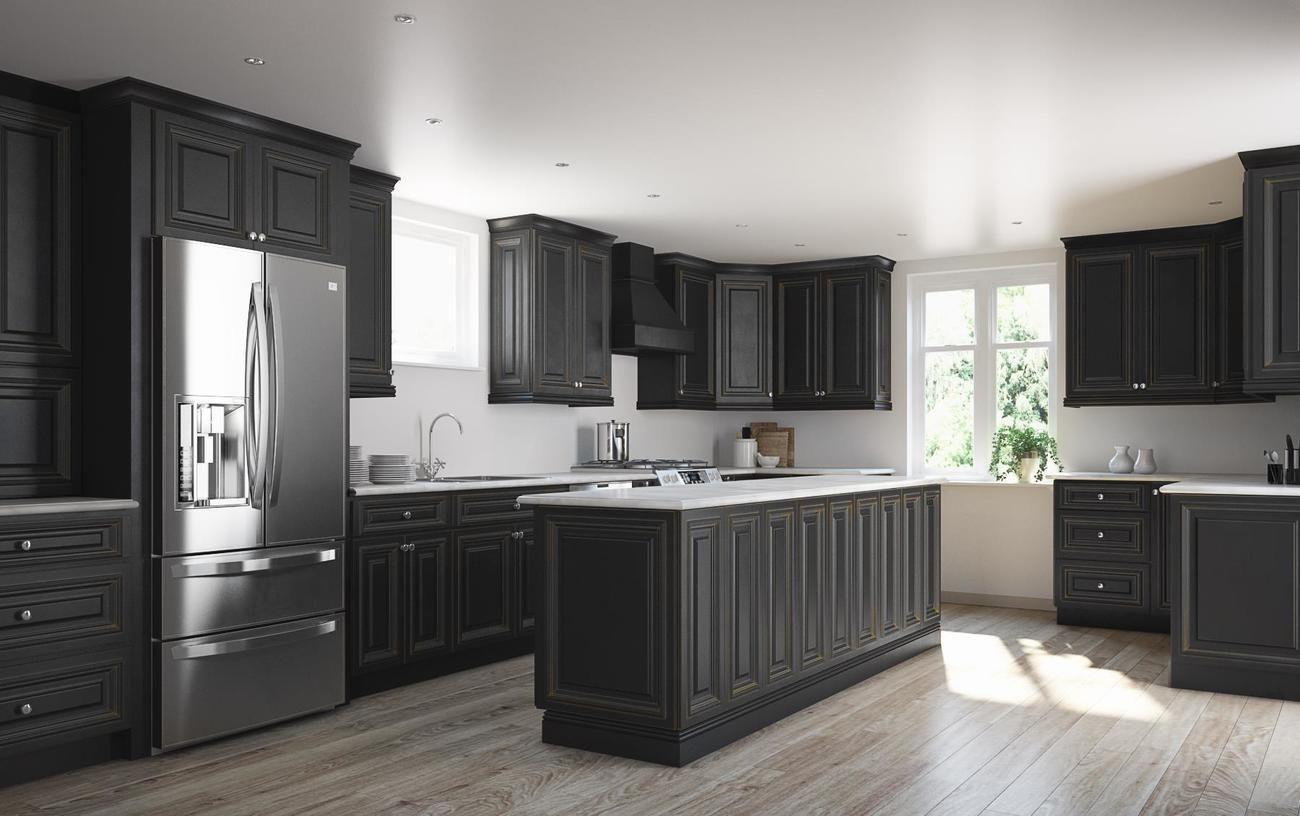 Roosevelt Black Distress with Honey Highlights - Kitchen ...