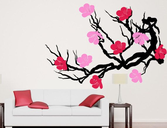 Cherry Blossom Tree Branch Bloomed Pink Flower By Chicwallsdesign Flower Wall Decals Flower Wall Stickers Cherry Blossom Tree