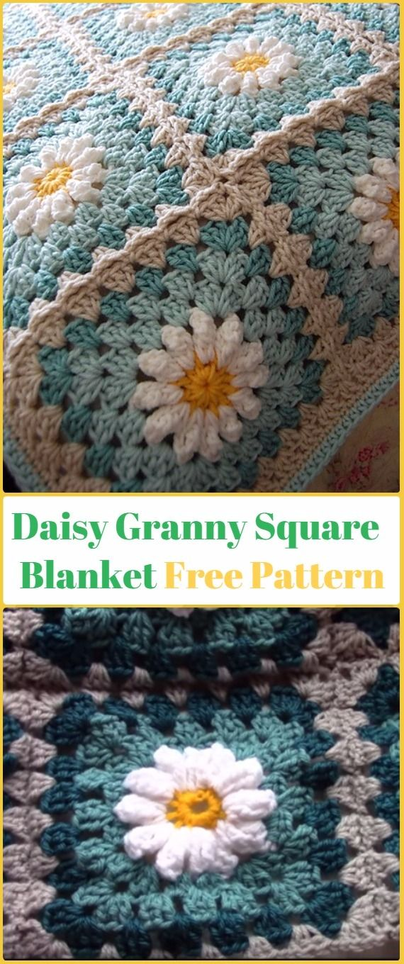 Crochet Daisy Granny Square Blanket Free Pattern Video - Crochet ...