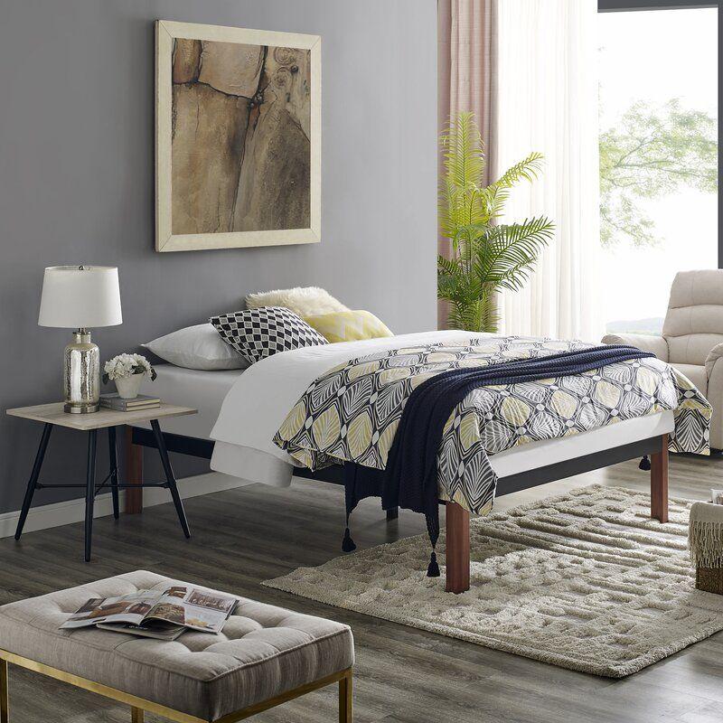 Caoimhe Wood Slat and Metal Platform Bed Frame Metal
