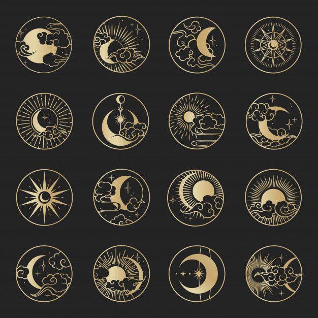 Asian Circle Set With Clouds, Moon, Sun, Stars . V