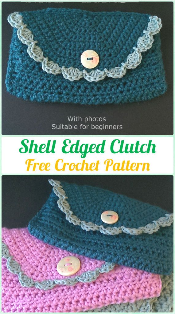 Crochet Shell Edged Clutch Free Pattern - Crochet Clutch Bag & Purse ...