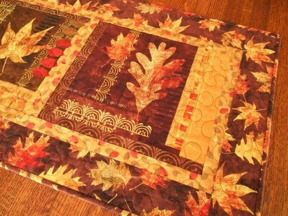 Autumn Fall Thanksgiving Quilted Table Runner Fall Table
