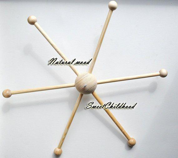 Wooden mobile hanger diy holder mobile 5 arms