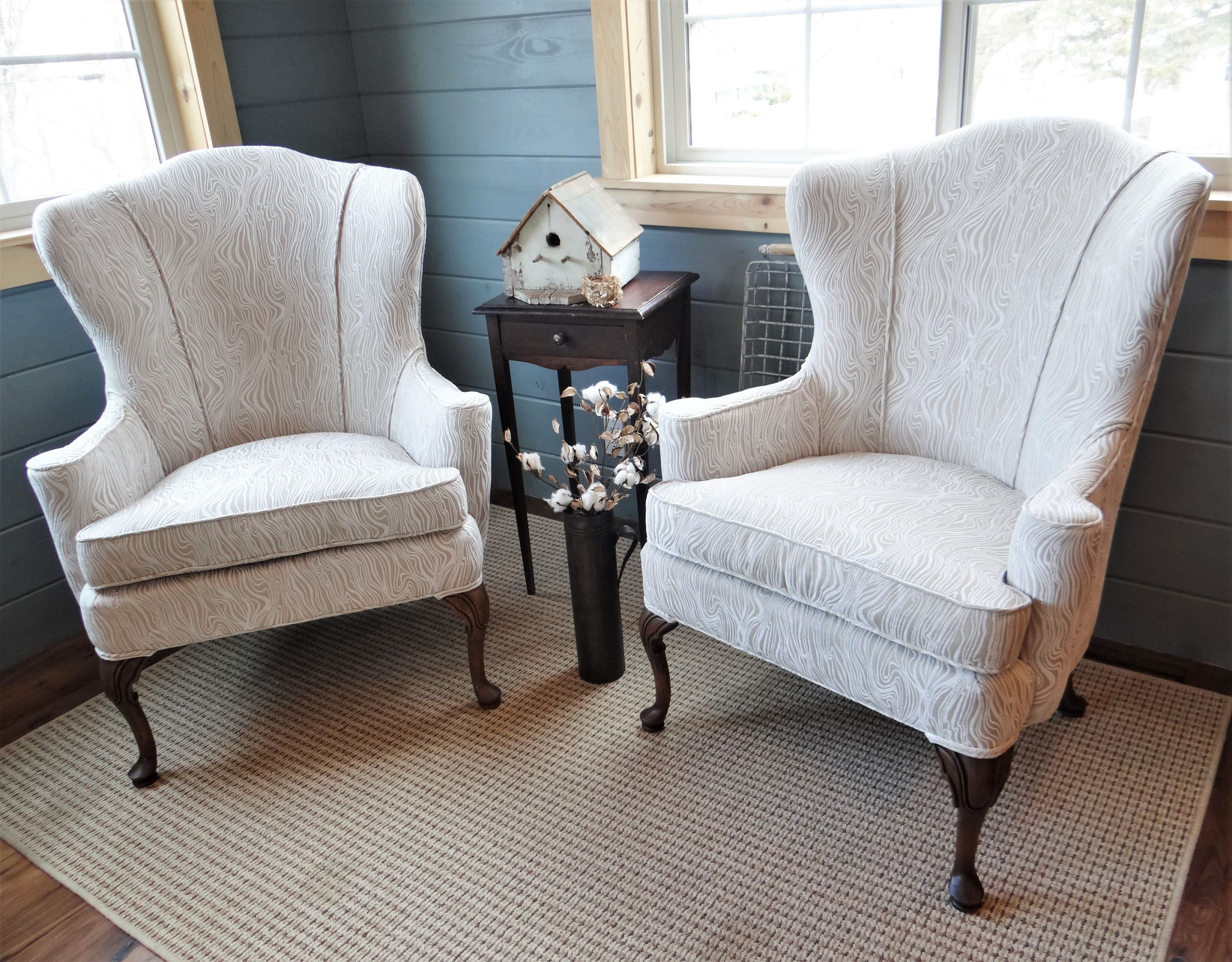 Pair Of Matching Tall Vintage Swoop Wingback Accent Chairs Restored In Birch Wood Grain Chenille Farmhouse Cou Wingback Accent Chair Earthy Chic Reupholstery