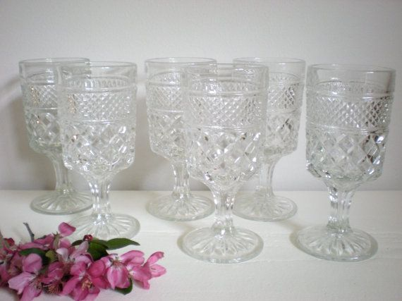 Crystal Goblets  Set of 6 Heavy Cut Glass by chloeswirl on Etsy, $34.99