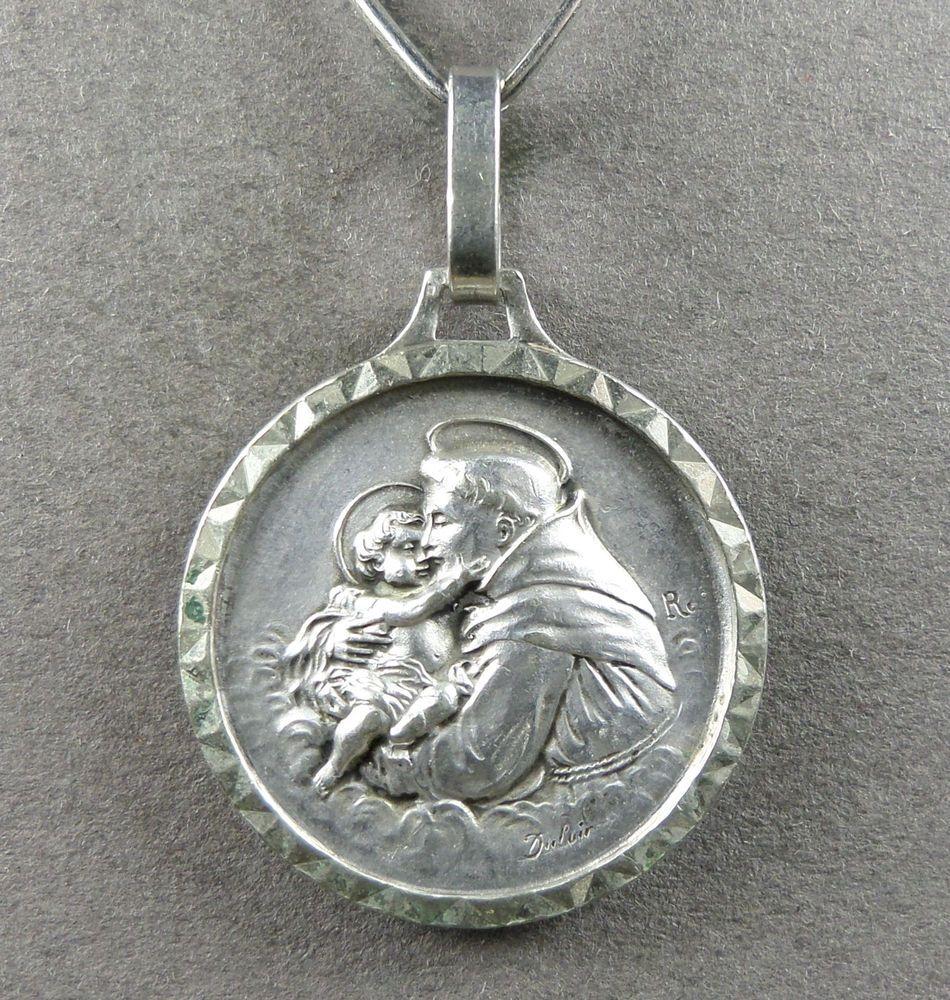 Patron Saint Of Lost Things Saint Catholic 10K 14K 18K Solid Yellow Gold Saint Anthony Of Padua 16mm Size 3D Design Medal Italian Pendant