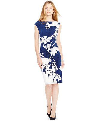Lauren Ralph Lauren Floral-Print Cap-Sleeve Sheath Dress - Dresses - Women - Macy's