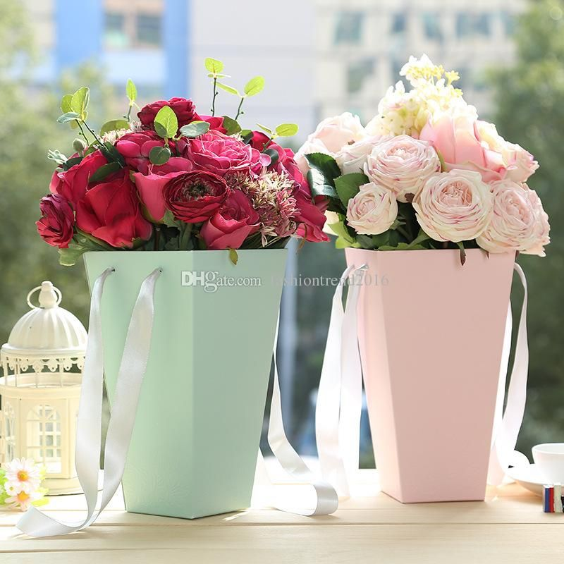 Bucket Shape Flower Packing Boxes Flower Paper Gift Boxes Bouquet Container Wrapping Paper For Kids Wrapping Paper For Sale Floristy Cvetochnye Kompozicii Cvety