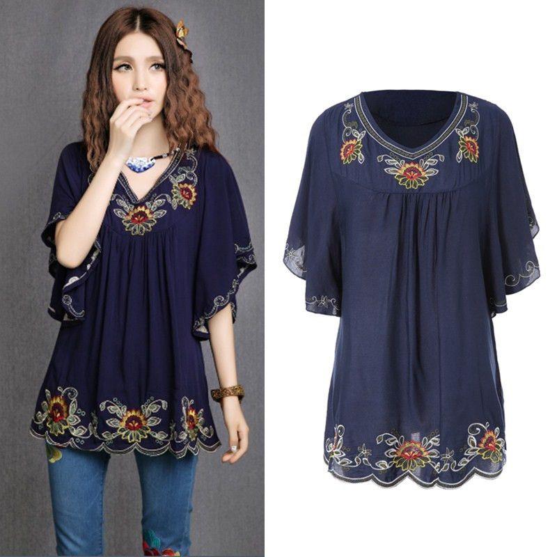 ac0b372ddf Venta caliente Vintage 70 s estilo étnico camisa Floral bordado Hippie blusa  para mujer vestido de manga murciélago Tops envío…