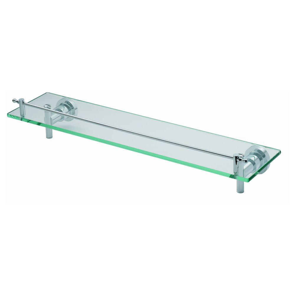 DeLeau LV24 Glass Shelf with Safety Rail. A glass shelf mounted on ...