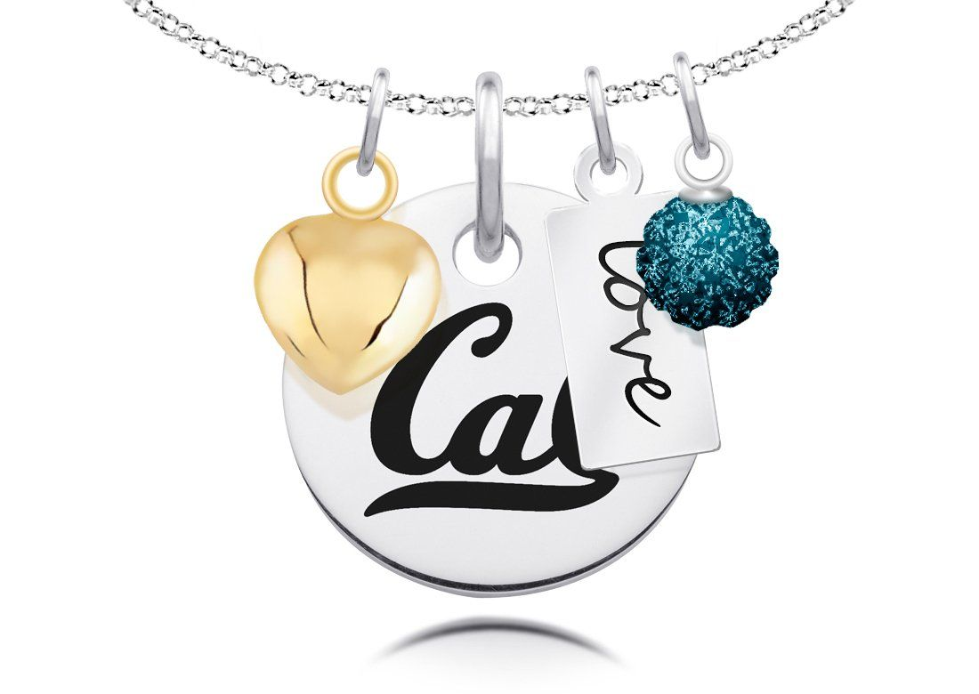 """University of California Necklace with Heart, Color and Love Accents. Officially Licensed. Standard Chain Length is 16"""". Circle Charm Size is 17mm (size of a dime). Crystal Ball Measures 5mm in Diameter. """"The indicia featured on this product is a protected trademark owned by the respective college or university.""""."""