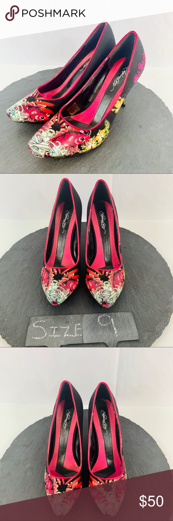 cda5cba252 Ed Hardy koi fish heels size 9 The product you are purchasing is a pair of  Vintage Ed Hardy heels in a women s size 9. These shoes are in good  condition w  ...