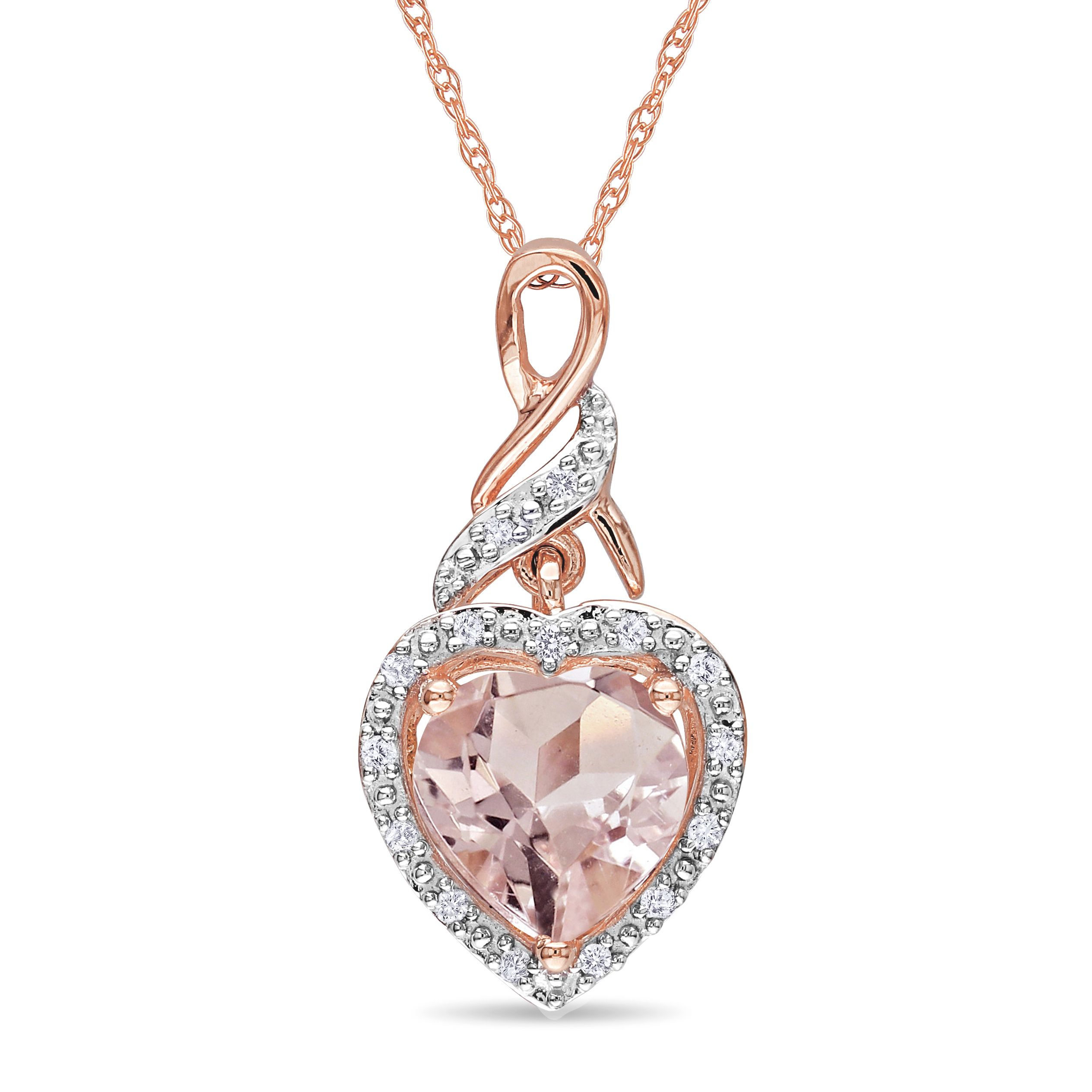 with diamonds rose necklace gold pendant in trillion morganite tw