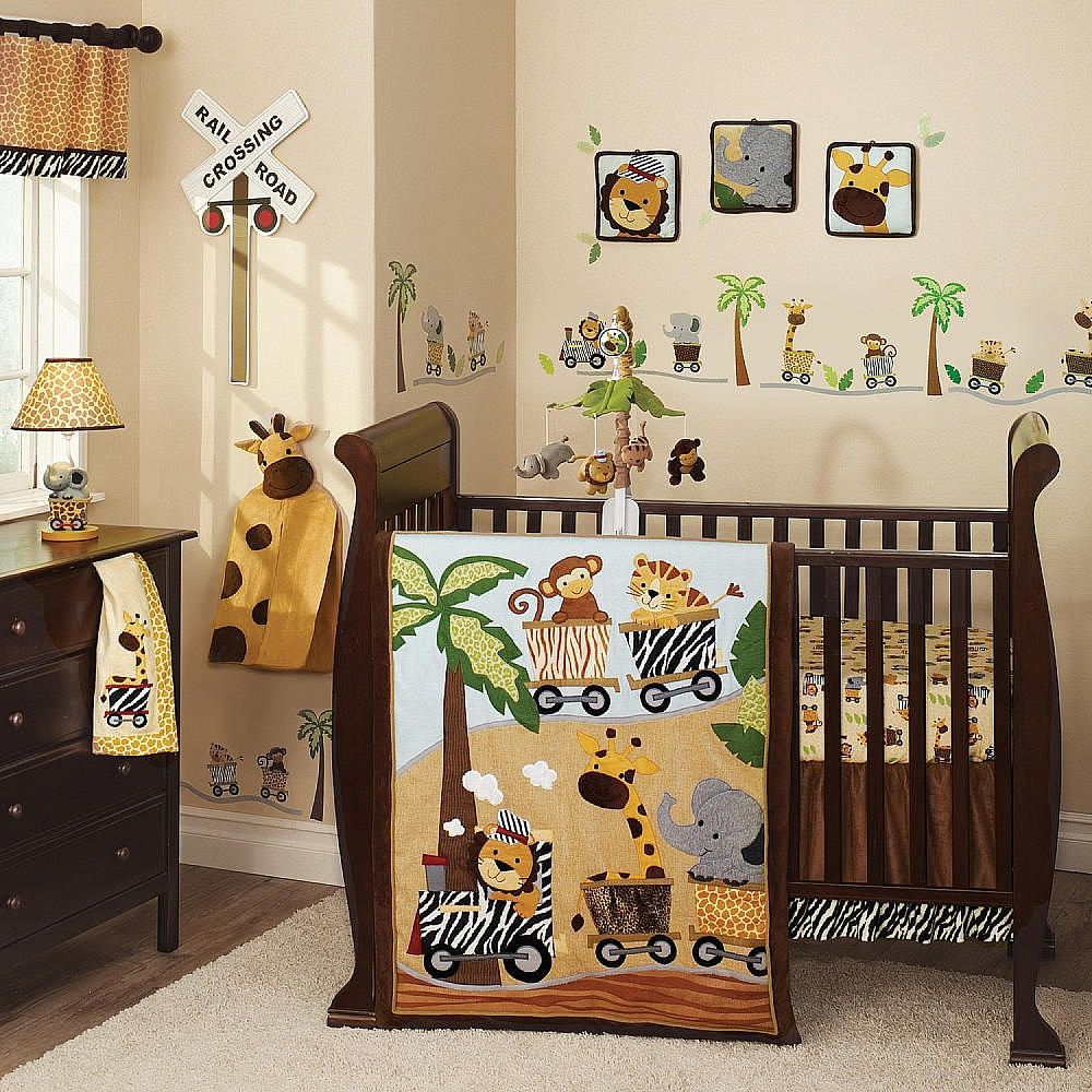 This Lambs Ivy Safari Express 9 Piece Bedding Set Comes With Leo