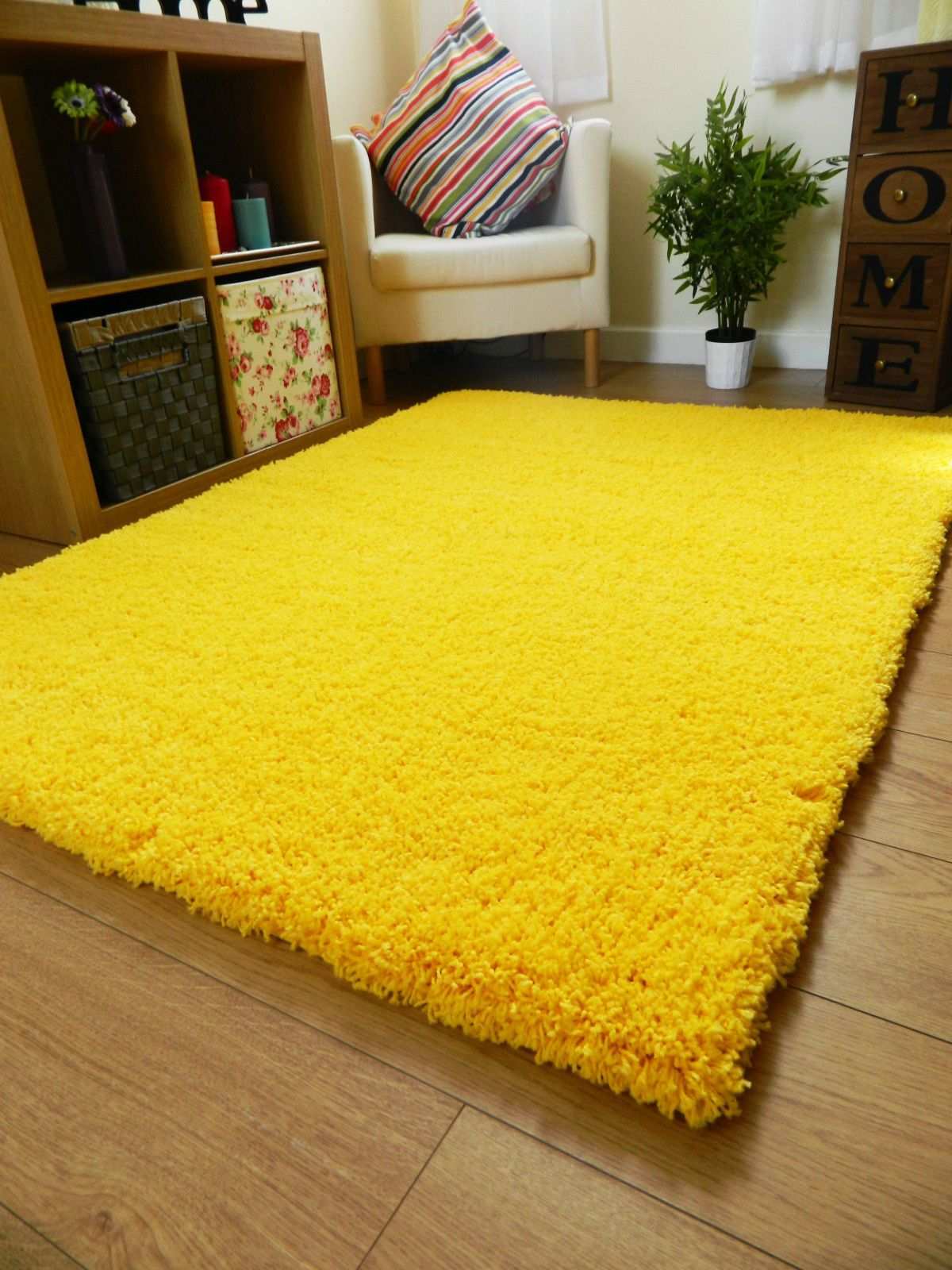 Small X Large Size Thick Plain Soft Shaggy Rug Non Shed 5cm Pile Modern Rugs Ebay Yellow Bedroom Decor Yellow Room Decor Rugs In Living Room Yellow rugs for living room