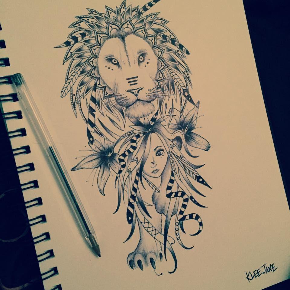 Lion Tattoo Design Illustration By Klee Jane Art Lion Tattoo Illustration Design Lion Tattoo Design